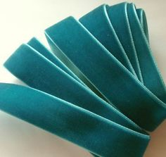 5 yards 7/8 inches Velvet Ribbon in Teal RY78-063 by Marcusann