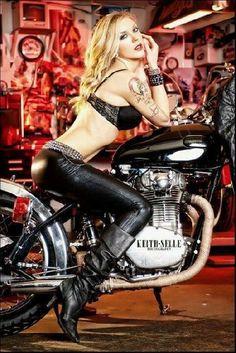 Bikes and Babes Car Girls, Pin Up Girls, Belle Nana, Hot Bikes, Biker Girl, Biker Chick, Classic Bikes, Biker Style, Girl Photography