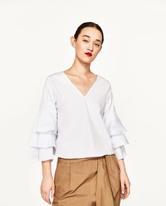 Image 2 of RUFFLED POPLIN TOP from Zara