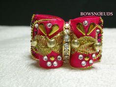 Noeud double coques 7/8 ROSE et doré cristaux Swarovski : Animaux par bowsnoeuds