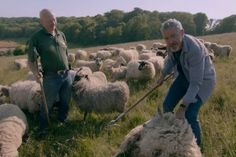 Griff Rhys Jones and Terry Wigmore at the Seven Sisters Sheep Centre SUS-160601-101509001