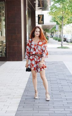 romper with flowers, who what wear collection, espadrille sandals, two tone bag, red hair inspiration, transitioning into fall outfit,