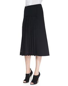 Mid Calf Wrap Skirt, Size: 14, Black - Donna Karan