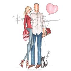 This cute couple opted for a Valentine's Day card instead of an annual Christmas card. Couple Illustration, Fashion Sketches, Fashion Illustrations, Cartoon Pics, Brittany, Cute Couples, Christmas Cards, Valentines, Romantic