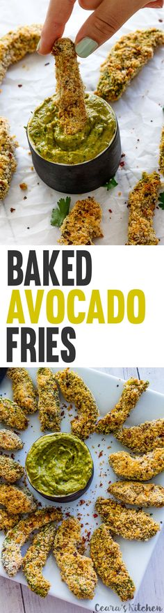 Baked Avocado Fries. Ripe, sliced avocado is tossed in a flavorful bread crumb mixture and baked until golden brown and crispy. Impossible to resist! #Vegan #GlutenFree #Appetizer