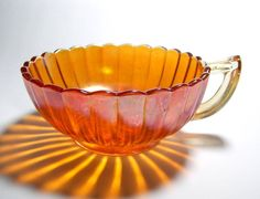 Marigold Carnival Glass Handled Bowl Pretty Mugs, Imperial Glass, Tiffany Glass, Vintage Carnival, Indiana Glass, Fenton Glass, Carnival Glass, Antique Glass, Cool Kitchens