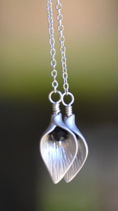 Long Silver Chain Earrings with Calla Lily Flower