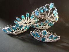 Set 6 Teal Beaded Princess Elsa Frozen Crowns Toddler Tiaras Costume Play Dates #Birthday
