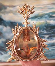 Vintage Vanity JEWELED Ormolu Gilt Perfume Bottle Matson Rose peach glass cherub