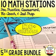 5th Grade Math Stations Bundle 4th Grade Math Test, Fifth Grade Math, After School Tutoring, Math Stations, Math Centers, Framed Words, Math Graphic Organizers, Teaching Strategies, Teaching Resources