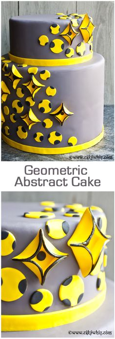 A gorgeous and unique GEOMETRIC ABSTRACT CAKE, using geometric square pieces and the inlay technique. From cakewhiz.com