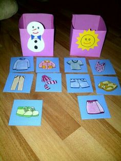 The student identifies the appropriate clothing worn during the different seasons and places clothing in the appropriate box.