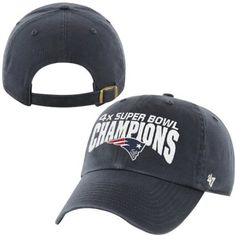 New England Patriots '47 Brand Super Bowl XLIX Champions Four-Time Clean Up Adjustable Hat - Navy Blue