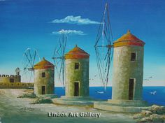 Rhodes Windmills Oil Painting