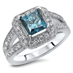 Noori 18k White Gold 1 2/5ct TDW Princess-cut Blue Diamond Engagement Ring (F-G, SI1-SI2) (Size-5.5), Women's, Size: 5.5