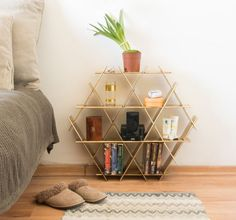 Beehive Shelving Unit for wall decor, nightstand, bedside table by Ruthy Shafrir