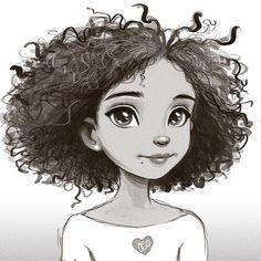 "kinks-n-curls: ""Rooting for to become the next big drawing designer for Disney. Black Girl Art, Black Women Art, Art Sketches, Art Drawings, Cartoon Sketches, Drawings Of Black Girls, Curly Hair Drawing, Mother Art, Natural Hair Art"