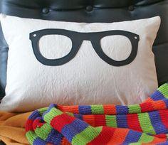 Geek Pocket Pillow, Eco Friendly Throw Pillow, Geeky Black Glasses, Nerdy Gadget Pocket, Dorm Decor, Teens Teenagers Lumbar, 12x18. $39.00, via Etsy.