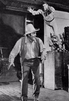 Behind the scenes. Dan Blocker. I think that's Michael launching himself at Dan. More fun on that set than any other I've been on.