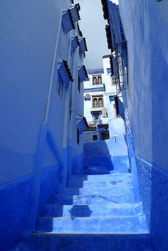 Blue-washed street