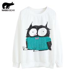 Women 2017 Cartoon Kawaii Owl Print Hoody Harajuku Thin Pullover Hoodies Girls Tracksuit Long Sleeve Sweatshirts WAIBO BEAR