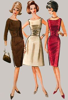 Vintage McCalls 7056 Madmen Wiggle Dress with Fitted Midriff and Scooped Neckline Vintage Sewing Pattern Size 10 Bust 31 Motif Vintage, Vintage Dress Patterns, Clothing Patterns, Vintage Designs, Skirt Patterns, Coat Patterns, Blouse Patterns, 40s Mode, Retro Mode
