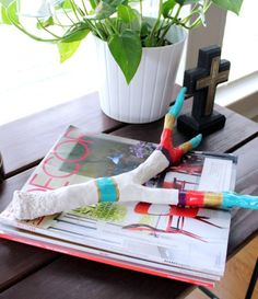 diy faux painted antlers