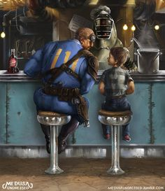 A Rockwell Inspired Fan work, displayed with characters from Fallout 4 Fallout 4 Funny, Fallout Fan Art, Fallout Concept Art, Fallout New Vegas, Video Game Art, Video Games, Fallout Posters, Fallout Comics, Cyberpunk