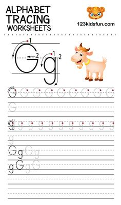 Alphabet Tracing Worksheets A-Z free Printable for Preschooler and Kindergartener. This Alphabet Tracing is a great activity for kids to practice letter recognition and handwriting skills. Printable letter G tracing worksheet. Free Printable Alphabet Worksheets, Letter Worksheets For Preschool, English Worksheets For Kids, Handwriting Worksheets, Kindergarten Worksheets, Kids Worksheets, Preschool Printables, Handwriting Practice, Preschool Kindergarten