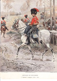 Officier Elite Company 5th hussars 1806 by Detaille.  The problem with this is…