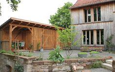 Fachwerkschuppen: Freisitz und Gartenschuppen auf unsere Terrasse