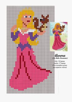 Aurora from Sleeping Beauty Hama Beads Pattern