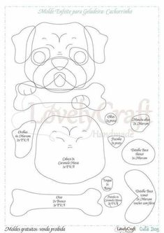 Dog Crafts, Felt Crafts, Sewing Crafts, Sewing Projects, Felt Patterns, Applique Patterns, Dog Template, Templates, Felt Dogs