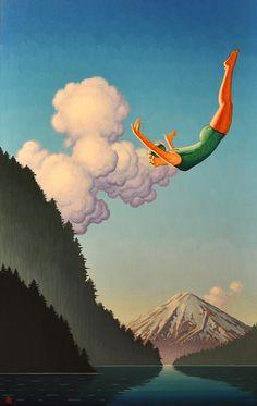 Robert LaDuke - Acrylic Painting - Female Diver, Lake, Mountains