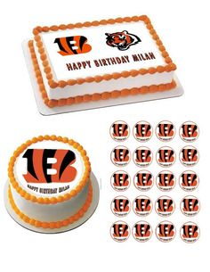 CINCINNATI BENGALS Edible Birthday Cake Topper OR Cupcake Topper, Decor