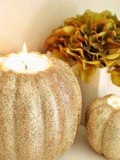 boxwood clippings_fall decor glitter pumpkin candle holder
