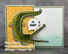 Masculine Birthday Cards, Fun Fold Cards, Animal Cards, Greeting Cards Handmade, Stampin Up Cards, Crocodile, I Card, Card Stock, Kids