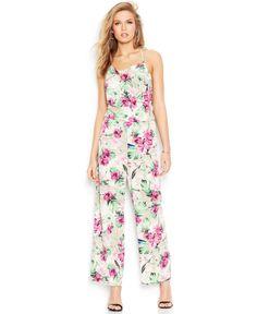 Guess Wide-Leg Floral-Print Jumpsuit