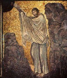 Dekalog - Die zehn Gebote_Abb. 1 Mose erhält die Zehn Gebote; Mosaik im Katharinenkloster auf dem Sinai (6. Jh.)