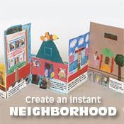Build a neighbourhood in your classroom w/this collaborative panel collage. LA:  students describe his/her building & reasons people go to each place, using 1st person voice.