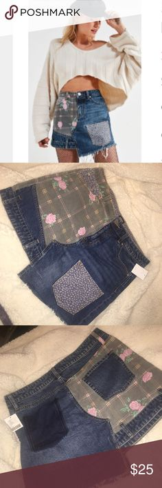 Urban Outfitters Skirt !! BDG Floral Patchwork Denim Mini Skirt Urban Outfitters Skirts Mini