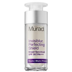 This innovative formula for the face is multifunctional and truly a miracle worker--it provides translucent SPF 30 protection, is an anti aging treatment and make-up primer as well. I was blown away at the results after trying it as part of my research for this article. Murad Invisiblur Protecting Shield contains mushroom peptides that diminish the look of fine lines and wrinkles by helping aid natural regulation of collagen and elastin.