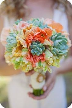 Succulents and peach; this is my favorite bouquet that I've seen so far. If anyone can tell me what the other flowers are, that would be great. Possibly ranunculas? Or peonies? #perfect