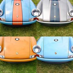 Singers in the sun. @singervehicledesign uses a #Porsche 964 ('89-'94) and 5,000 hours of labor to build, craft, and restore each car. I'm partial to anything in Gulf colors, so top-left is my fave color scheme, but they're all kind of awesome 👋👋👋👋 my clockwise order is 1,4,3,2. #montereylocals #pebblebeachlocals - posted by Matthew Askari https://www.instagram.com/matthewaskari - See more of Pebble Beach at http://pebblebeachlocals.com/