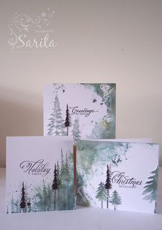 Handmade Christmas card idea, paint technique using Adirondack rainbow ink pad in green tones, Tim Holtz Reindeer flight stamp and Woodland die.trio of handmade greeting cards:Tree 3 by jasmine. looks like smooched watercolor corners and sides with t Christmas Paintings, Christmas Art, Handmade Christmas, Christmas Decorations, Christmas Movies, Painted Christmas Cards, Christmas Abbott, Nordic Christmas, Christmas Vacation