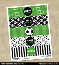 SOCCER BIRTHDAY WATER BOTTLE LABELS / Printable Soccer Party Bottle Labels - DIY Soccer Team Labels - Sports Table Decor - Digital Download. The perfect touch to decor your Soccer Party! You could also use them as napkin rings, or whatever you can imagine! INSTANT DOWNLOAD - Digital Soccer Birthday Parties, Soccer Party, Sports Party, Birthday Party Themes, Boy Birthday, Soccer Theme, Party Labels, Bottle Labels, Diy For Kids