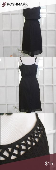 Old Navy Black Crepe Dress with Criss Cross A timeless dress with a criss-cross design that gives it that little extra something that every LBD needs. 100% Cotton and machine washable. Old Navy Dresses Midi