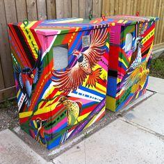 Utility Box Public Art Program Electric Box, Electric Utility, Painted Boxes, Painted Paper, Sculpture Art, Sculptures, Urban Street Art, Trash Bins, Ap Art