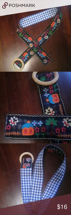"""Loop de Loops Embroidered Belt Med / Lg Loop de Loops Embroidered Belt. Such a Fun Belt.  Embroidered Detail on Front. Blue and White Gingham on Back. Beautiful Condition! 2 1/4"""" Wide Belt us 42"""" long (this length does NOT include buckle) loop de loops Accessories Belts"""