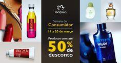 Comunicado Semana do Consumidor Natura_de 14 a 20/03 Em comemoração ao dia do consumidor brasileiro, 16/03, preparamos uma semana com promoções imperdíveis para você comprar online. Aproveite! #ConsumidorNatura #ConsumoSustentável #DiaDoConsumidorBrasil  Semana do Consumidor Natura.  Até 50% de desconto. Promoções válidas de 14 a 20/03, ou enquanto durarem os estoques.